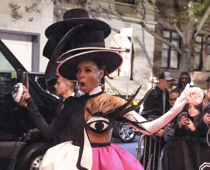 Janelle Monae's four black gravity-defying top hats after the Met Gala at the Mark Hotel NYC