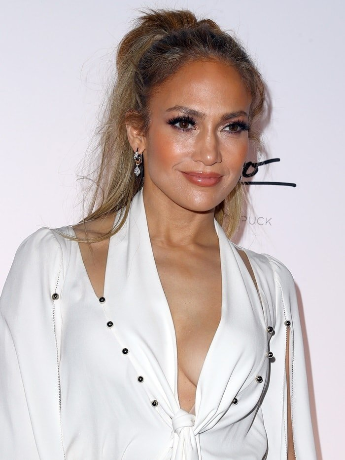 "Jennifer Lopez poses at her ""Dinero"" Single Release Celebration held during the sneak peek of new Spago at Bellagio in Las Vegas on May 20, 2018"