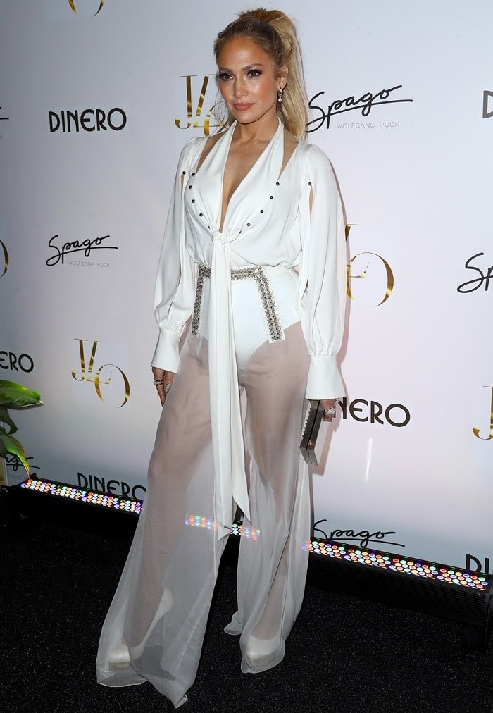 Jennifer Lopez in a white ensemble from Ralph & Russo's Spring 2018 collection