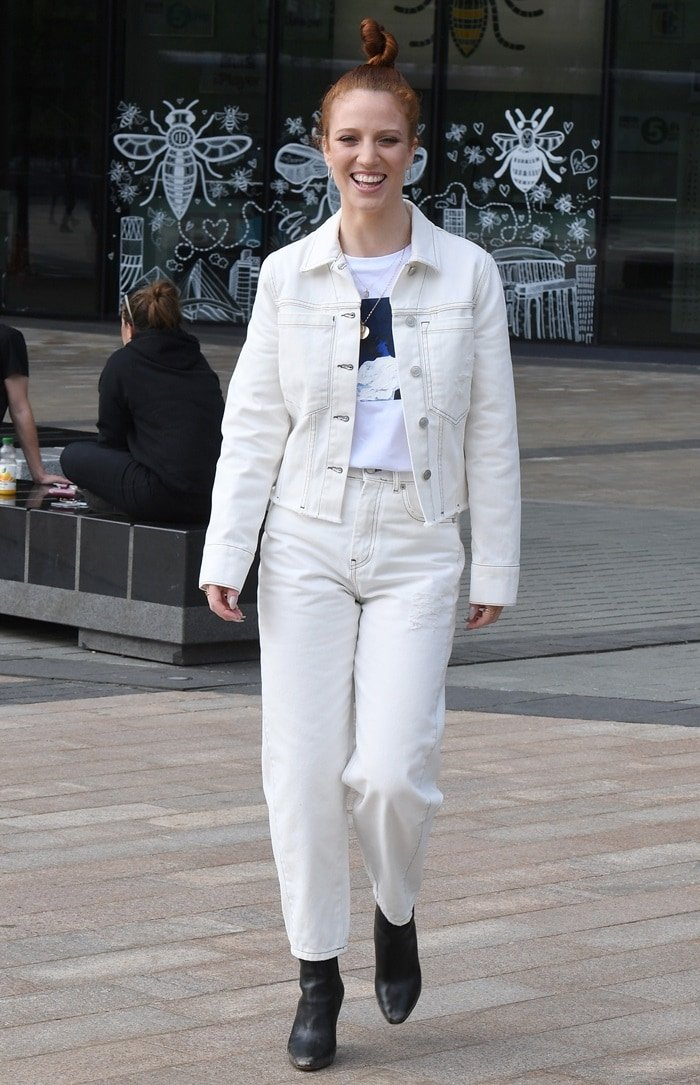 Jess Glynne spotted at the BBC Studios in at MediaCityUK after appearing on BBC Breakfast in Manchester on June 1, 2018