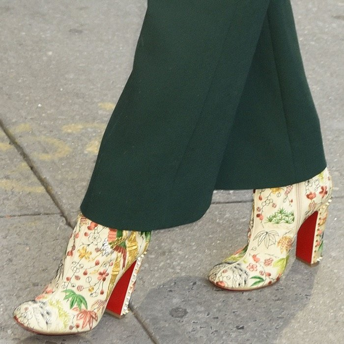 Jessica Chastain rocking crane embroidered 'Bamboot' booties from Christian Louboutin that are inspired by the Far East's beauty