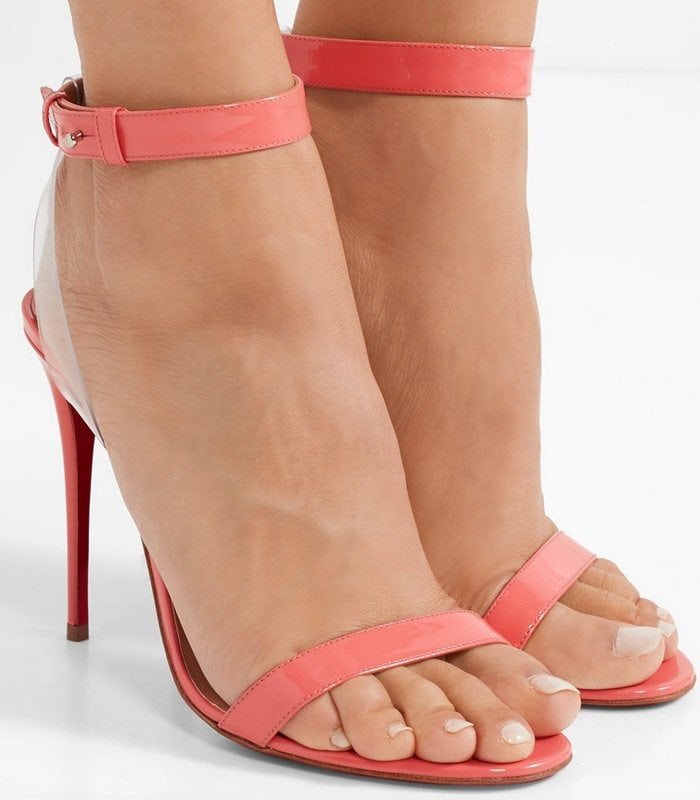These Jonatina sandals have been made in Italy from coral patent-leather and have clear PVC trims that create the illusion of a floating ankle strap