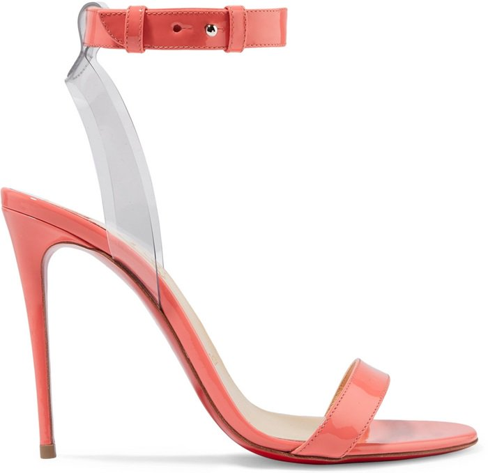 "Coral Patent ""Jonatina"" PVC-Trimmed Patent-Leather Sandals"