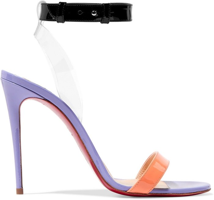 Black, Lilac and Pastel-Orange Patent-Leather 'Jonatina' Sandals