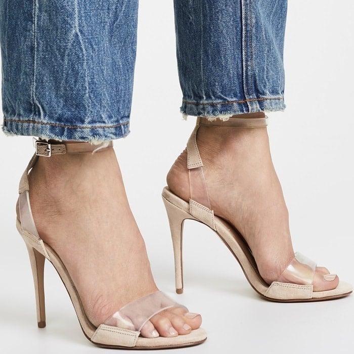 Clear Strap Ankle Stiletto Heels In Black Blue Mustard
