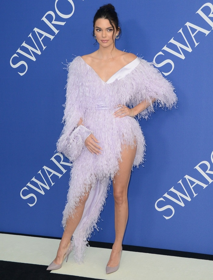 Kendall Jennerin a lavender feather dress from theAlexandre Vauthier Couture Fall 2017 Collection