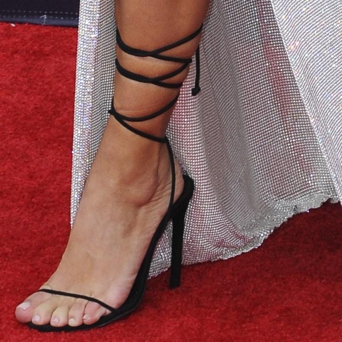 Kim Kardashian's feet inblack Merah Vodianova Ophelia sandals