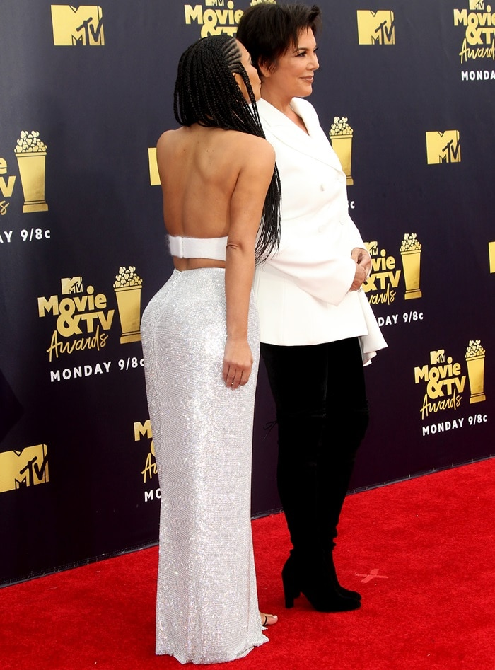 Kim Kardashian's figure-hugging long silver sequined skirt from Atelier Versace