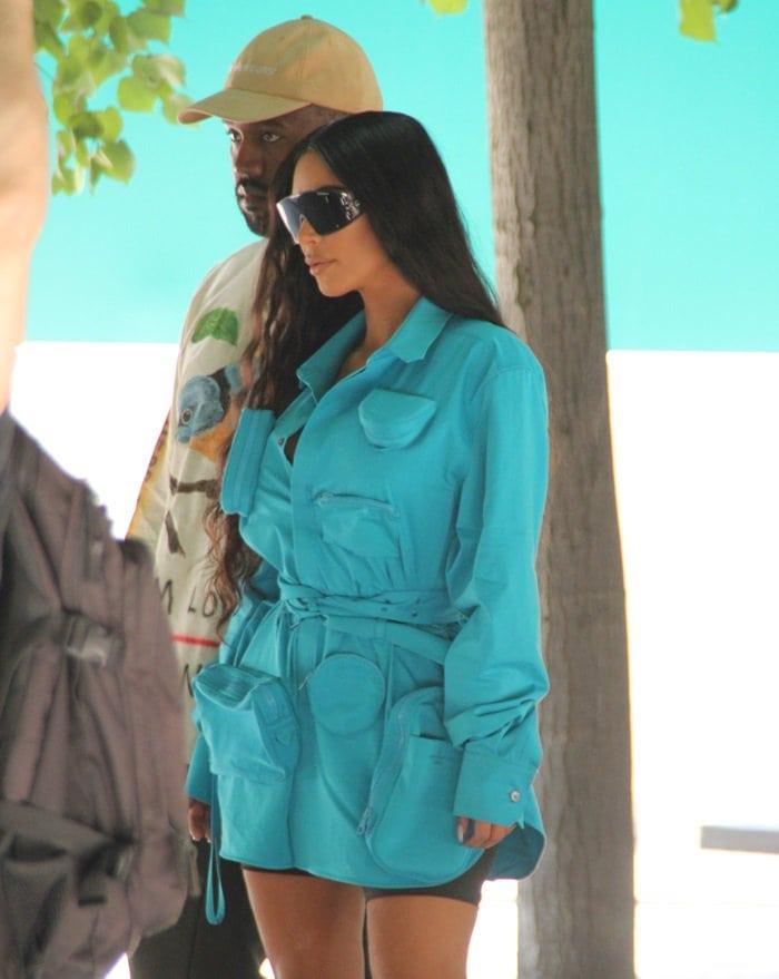ba210b9320078 Kim Kardashian and her husband Kanye West attending the Louis Vuitton  Menswear Spring Summer 2019