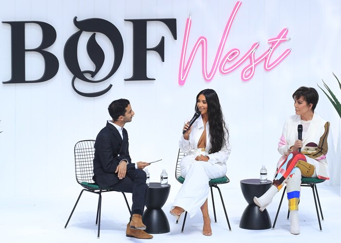 Kris Jenner and Kim Kardashian discussing entrepreneurship at the BoF West Summit at Westfield Century City in Century City, California, on June 18, 2018