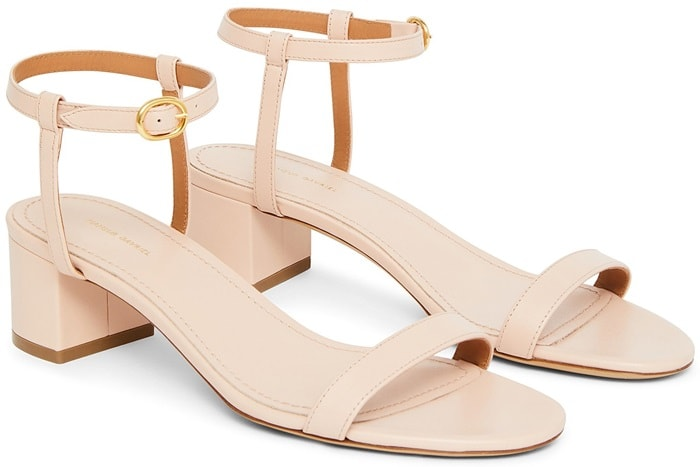 Italian Lambskin Leather Light Pink Ankle Strap Sandals