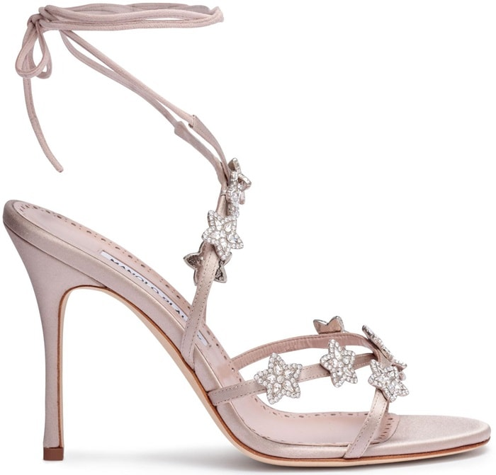 Manolo Blahnik Satin Crystal Star Detail 'Osaka' Sandals