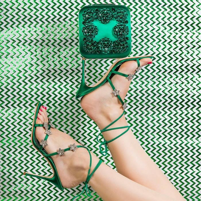 Manolo BlahnikSatin Crystal Star Detail Osaka Sandals