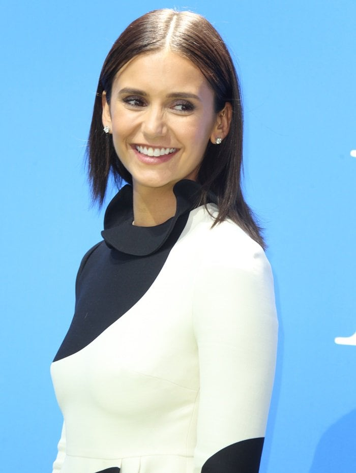 Nina Dobrev dressed like a cow at the premiere of her new movie Dog Days at the Westfield Century City Theater in Century City, California, on August 5, 2018