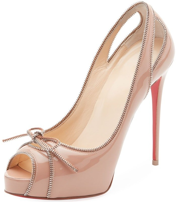 Nude 'Colbina' Zipper-Trim Patent Red Sole Pumps