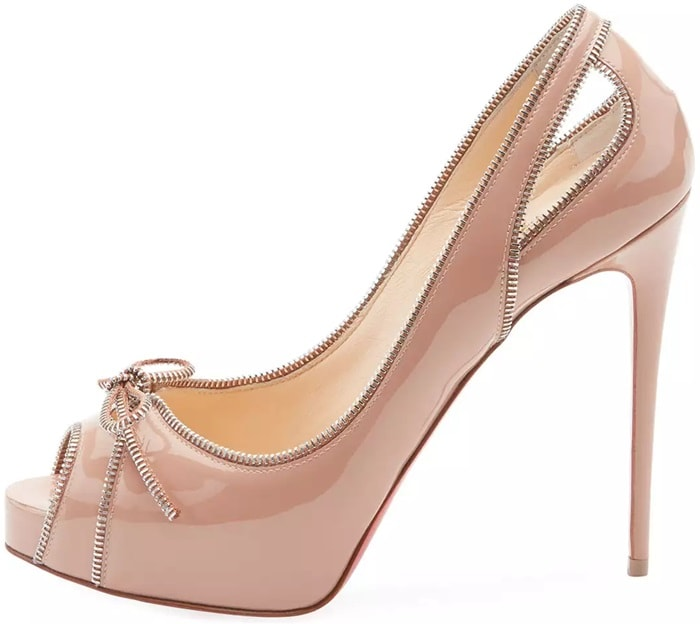 Christian Louboutin patent leather pump with exposed zipper trim