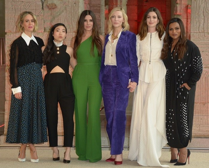 Sarah Paulson, Awkwafina, Sandra Bullock, Cate Blanchett, Anne Hathaway and Mindy Kaling attending their 'Ocean's 8' worldwide photo call held at The Metropolitan Museum of Art  in New York City on May 22, 2018
