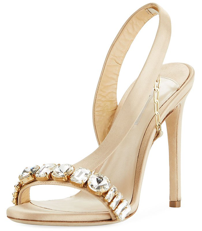 Olgana Paris 'Amazone' Jeweled Asymmetric Slingback Sandals