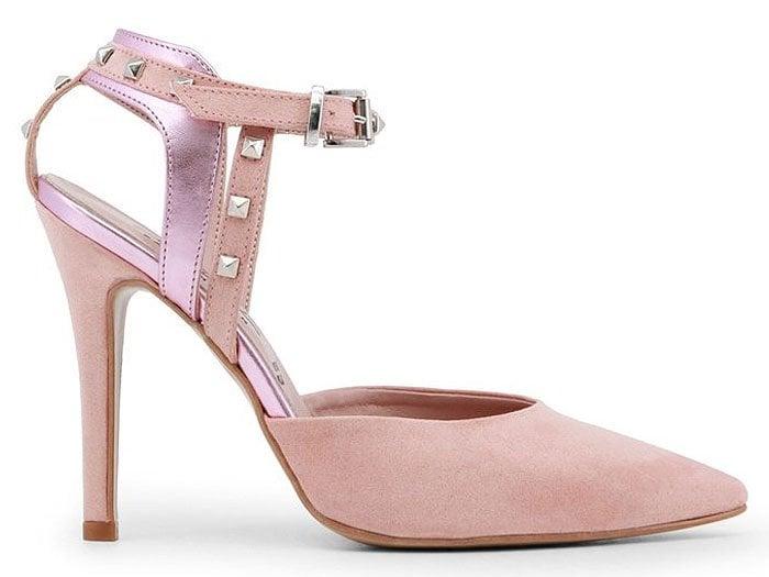 Paris Hilton Spring 2018 Studded-Ankle-Strap Pointy-Toe Pumps