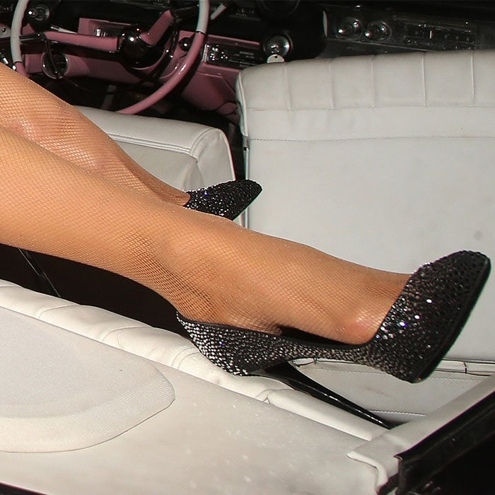 "Paris Hilton in Philipp Plein ""Crystal Beauty"" pumps."