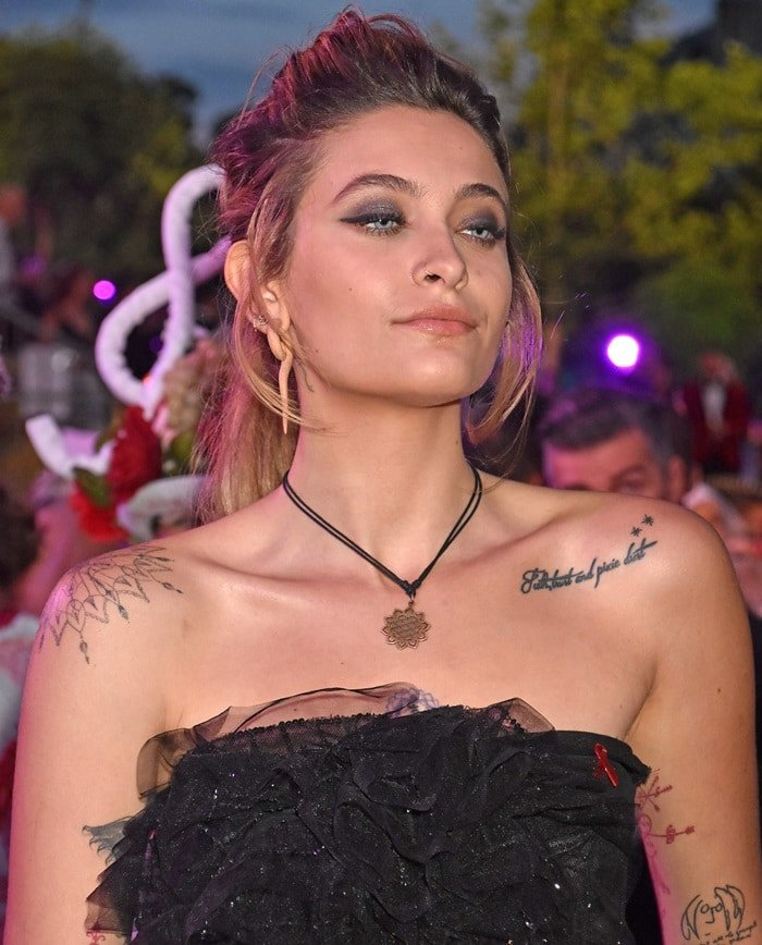 Paris Jackson wearing an awareness ribbonon the red carpet at the 2018 Life Ball in Vienna, Austria, on June 2, 2018