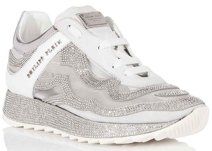 "Philipp Plein ""We Fall Like Dominoes"" Crystal-Covered Sneakers"