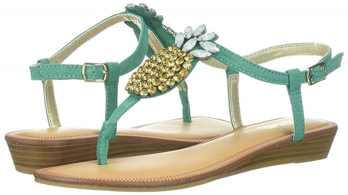 Pineapple-Embellished Tropical Slingback Thong Sandals