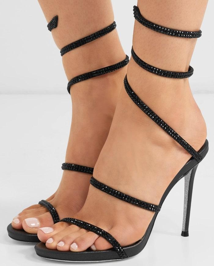 Black 'Snake' crystal-embellished leather sandals