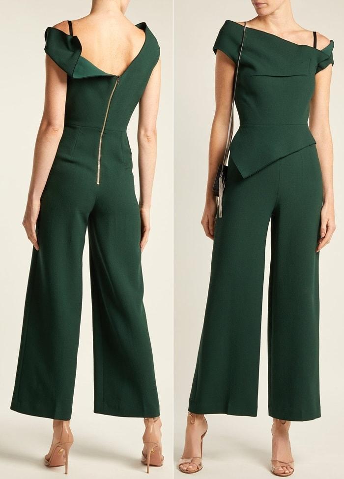 Green Gable Peplum Wool-Crepe Jumpsuit