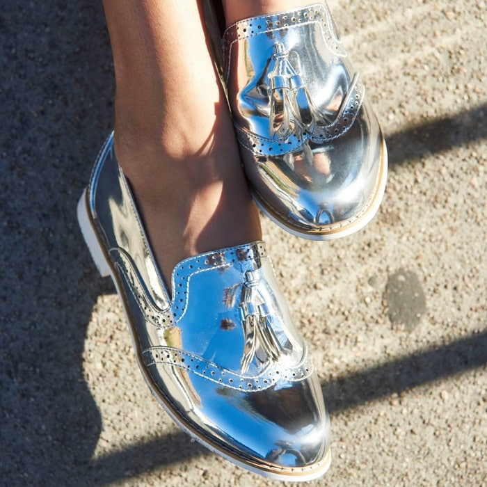 Silver Metallic Oxfords