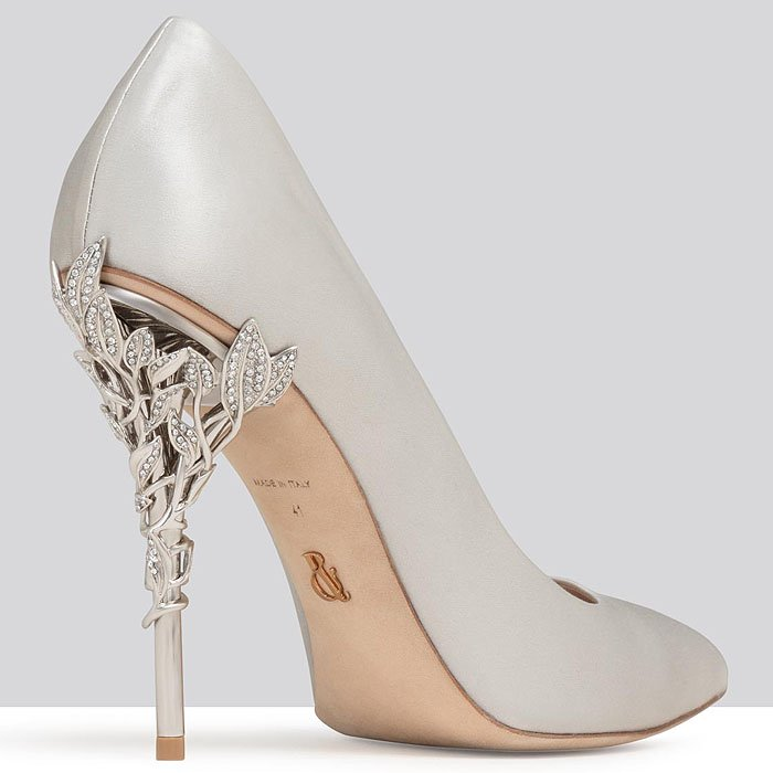 Ralph & Russo Eden Heel Pumps in silver satin with silver Swarovski crystal leaves