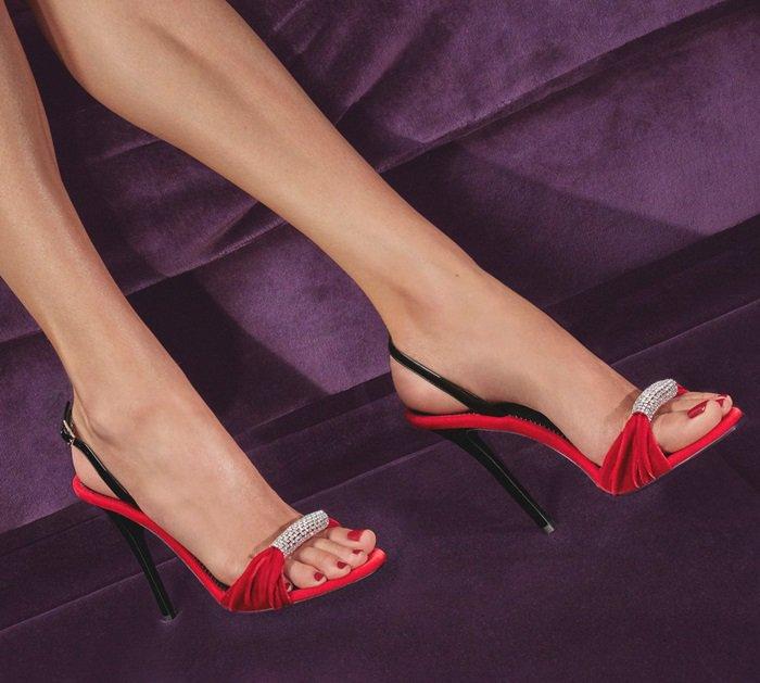 Red Velvet Sling-Back Sylvia Sandals With Crystal Brooch