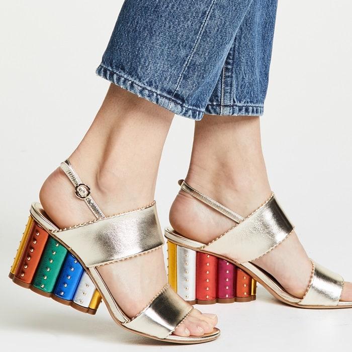 Oro RainbowGavi Elongated Flower Block Sandals
