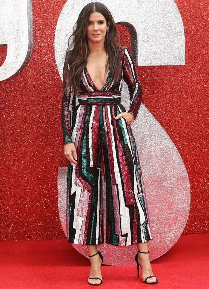 Sandra Bullockin an underwhelmingZuhair MuradPre-Fall 2018 sequined jumpsuit