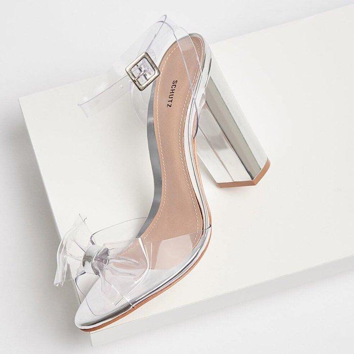 Brianne Vinyl Block Heel Sandals