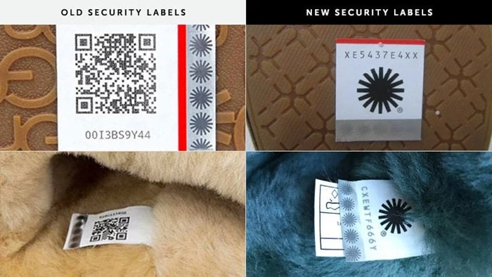 QR code to the sewn-in security label on the left shoe
