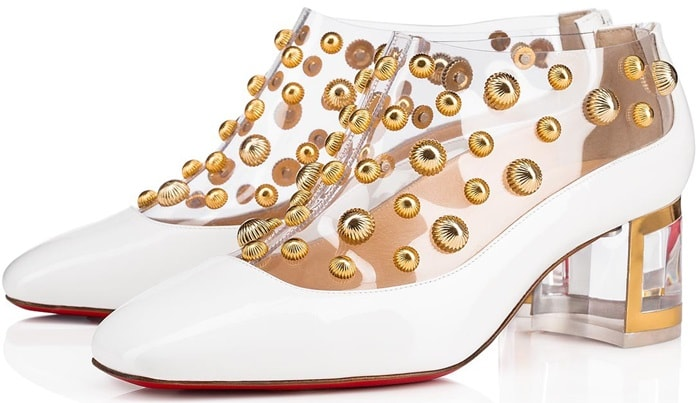 Gold guilloche studs are inserted into Christian Louboutin's much-loved transparent PVC, above a white patent leather-contoured foot and a 55mm Plexi heel with a contrast gold outsole, counter and piping