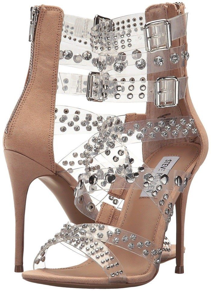 Moto Sandals With Mixed Studs and Crystals