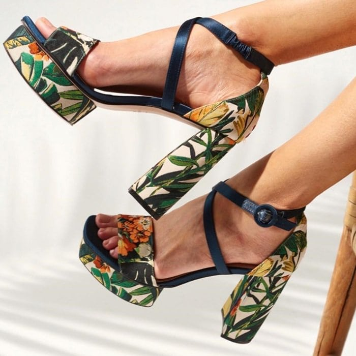 Botanic-Patterned Carla Platform Sandals