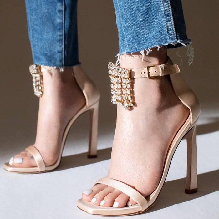 Fringe Nudist Satin Sandals