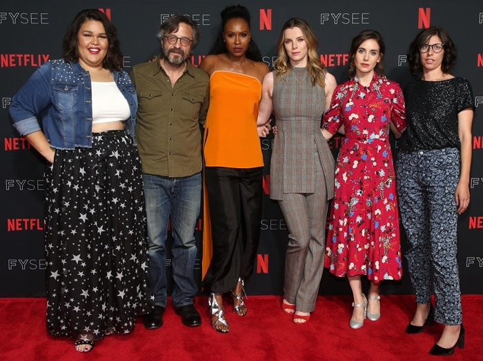 Britney Young, Marc Maron, Sydelle Noel, Betty Gilpin, Alison Brie, andCarly Mensch