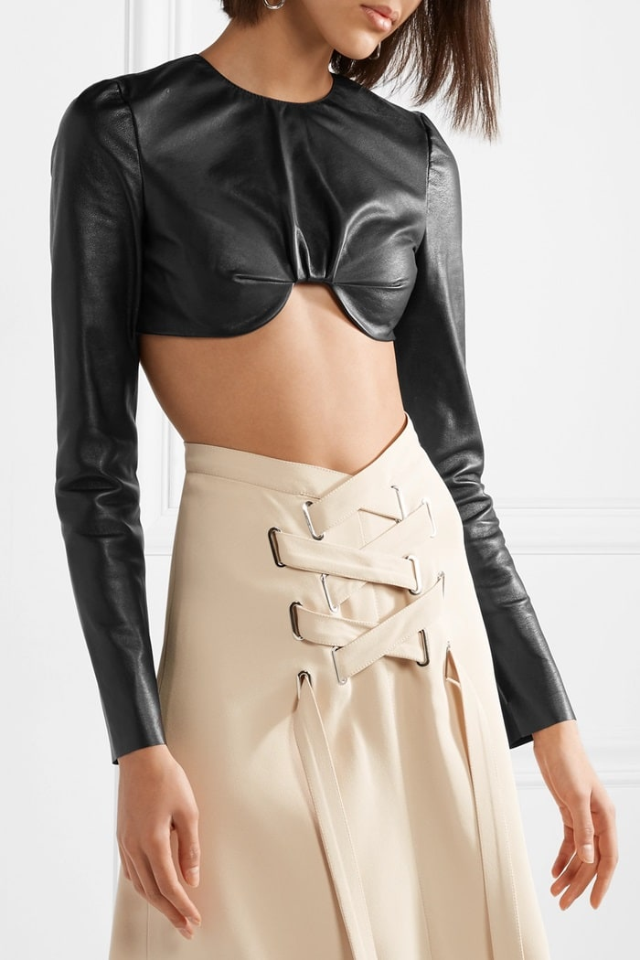 This fitted top is made from supple leather in a cool, cropped shape that's underwired to sit comfortably below the bust