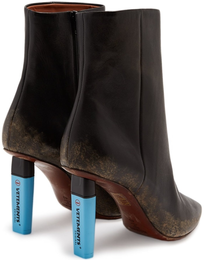 Highlighter-heel leather ankle boots