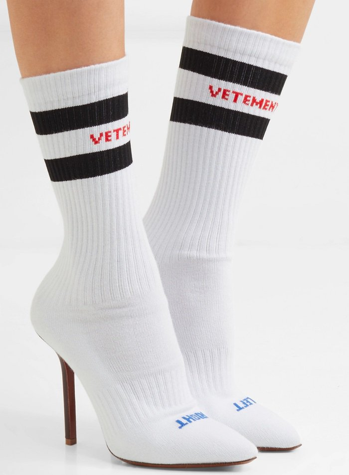 White logo-jacquard stretch-knit sock boots