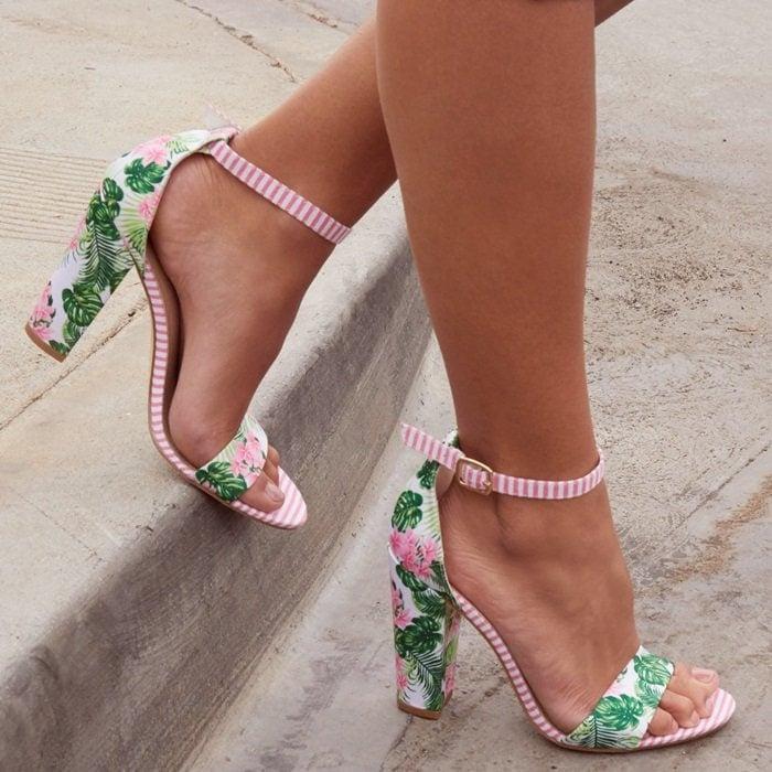 White Floral 'Lena' Heels