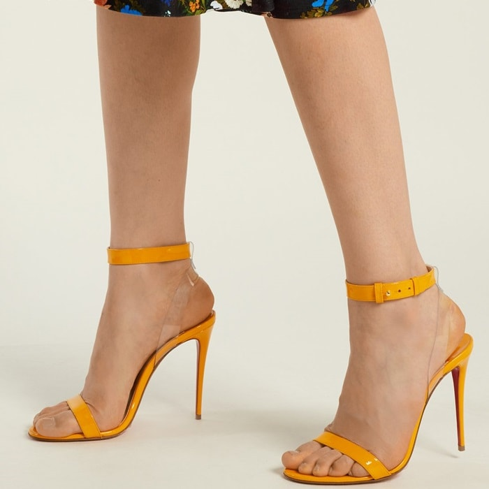 new arrival f956d 006cd Sexy Celebrity Feet in Jonatina PVC Sandals by Louboutin