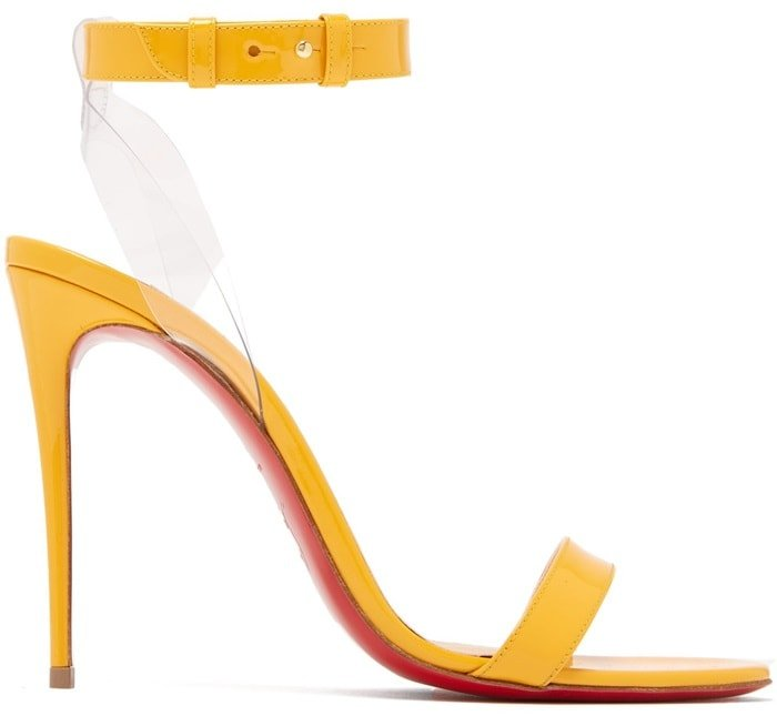 These yellow Jonatina sandals feature clear PVC straps that offer leg-lengthening possibilities