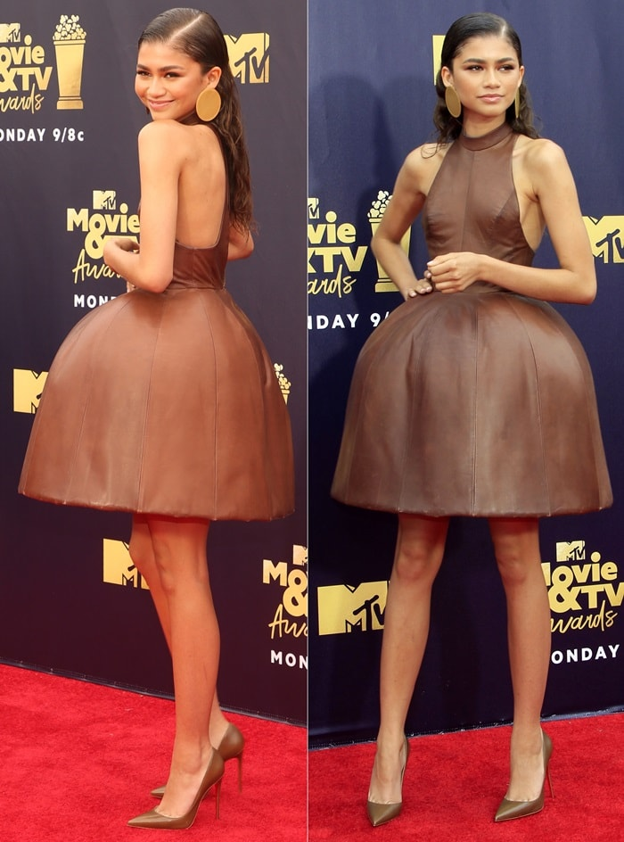 Zendaya looking like a Hersey Kiss in brown leather pointed-toe stilettos from Christian Louboutin