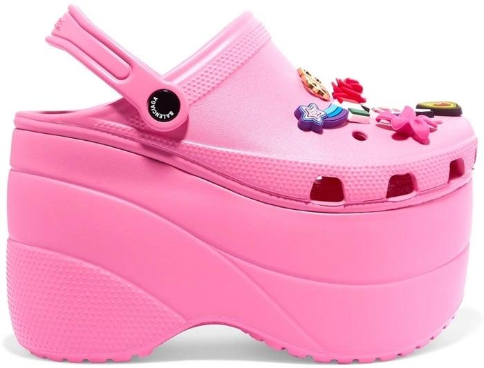 Pink Embellished Rubber Platform Sandals