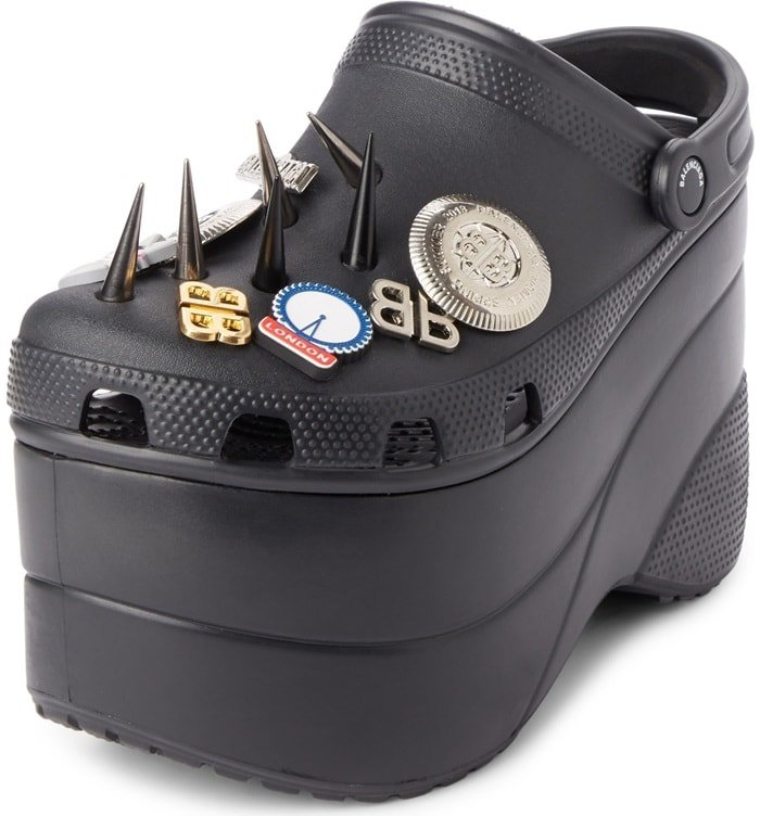 Black Spiked Rubber Platform Sandals